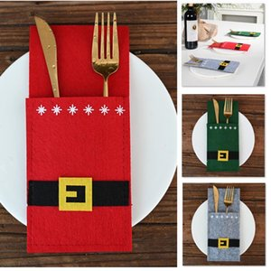 Titulares Mesa de Natal Decoração de Papai Noel Belt Snowman Faca E Bolsas Fork Covers Para Xmas Party Dinner Table Decor WX9-1693