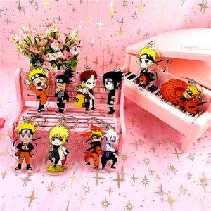 New Fashion bonito Naruto Keychain Sasuke / itachi / Kakashi Dupla Face Cadeia Acrílico Key Pendant Acessórios Anime Anel chave dos desenhos animados
