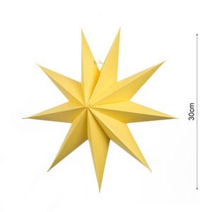 3D de nove pontas de papel da estrela Decoração Luz Abajur Lanterna de papel Estrela Com Cabo Para Wedding partido de feriado de aniversário