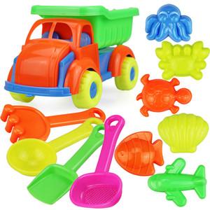 11PCS شاطئ الرمال لعب مجموعة بما في ذلك دلو، السيارات، معاول، مكابس، مرش، قوالب للأطفال في الهواء الطلق الصيف شاطئ المرح