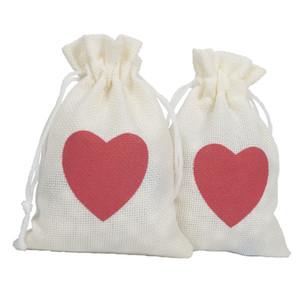 10x15 cm Love Heart Coulisse Borse Borse Iuta Naturale Sacchetti Dei Monili Hessian Tela Festa Favori Sacchetti di Imballaggio