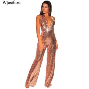 Wjustforu السباغيتي حزام مثير مطرزة بذلة المرأة الأزياء عارية الذراعين واسعة الساق ارتداءها الإناث معطلة الكتف أنيقة وزرة