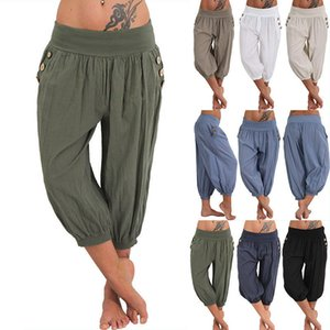 Women 5XL Plus Size Loose Pants Buttons Casual Elastic Low Waist Harem Pants Capris Female Solid Trousers Summer