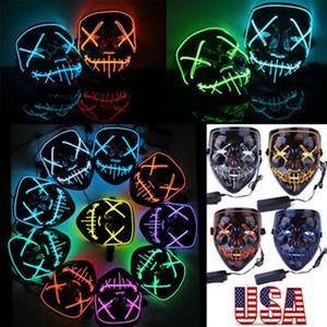 20 styles Masque Halloween LED Glowing Parti Cosplay Masques Bar Garde Joker visage du Club éclairage Party Effrayant Masque ZZA1187 10PCS