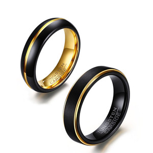 2019 حلقة تنغستن جديدة سوداء و ذهبية اللون للرجال مجوهرات 5m 6mm Black Tungsten Carbide Ring