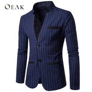 Striped Patchwork Slim Fit Suits Jacket Mens Formal Single Breasted Costume Homme Stand Collar Wedding Dress Blazers