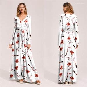 Bölünmüş Yaz Plaj Uzun Elbise Uzun Kollu Bayan Tatil Elbise Flora Baskılı Kadın Bohemian Elbiseler Tasarımcı