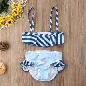 Two Pieces Summer Newborn Toddler Baby Kid Girl Ruffles Stripe Swimwear Bikini Set Swimsuit Swimming Bathing Suit Beachwear