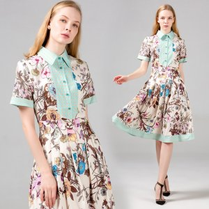 Floral Lady Dress Short Sleeve Summer Women's Pleated Dress High Waist Boutique Girl Dress High-end Retro Big Swing Dresses