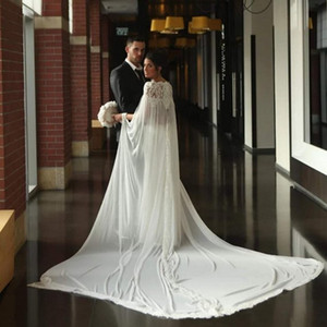New Design White Ivory Chiffon Church Style Appliques Lace Neckline Scoop Bridal Cloak For Bridal Bridal Wraps Jacket