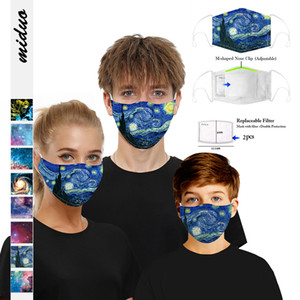 2020 New 8 Styles 3D Digital Printing Dust-Proof Face Mask PM2.5 Reusable Kids Adult Adjustable Earband Protective Mask With Filter