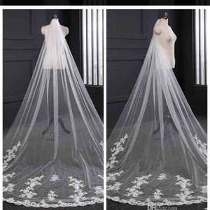 2019 Elegant Long Tulle Lace Applique Wedding Veils Bridal Veils Matching The Wedding Dresses