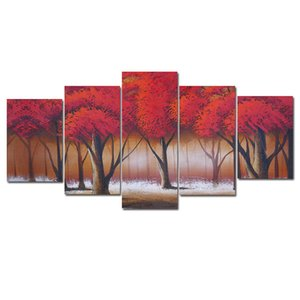 Red Tree Canvas Wall Art Painting Forest Home Decor Picture for Bedroom Living Room Tree Paintings on Canvas Unframed 3 Pieces