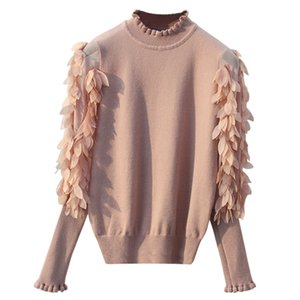 GIGOGOU Ruffled Collar Knitted Women Sweater Spring Autumn Loose Jumper Fashion Flowers Sleeves Sweater and Pullover Femme Pull Y190923