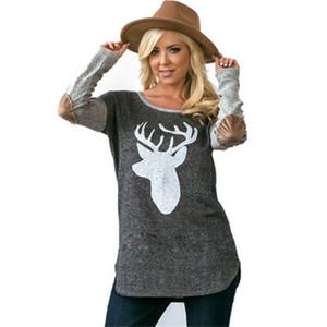 2019 nuevo estilo Reino Unido señora de las mujeres de Navidad de manga larga otoño Softy camiseta top de la blusa de Ropa Casual