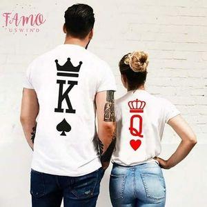 Rey letra de la reina de moda de verano 2019 de impresión de ropa Pareja Mujeres camiseta de los hombres de los amantes Ropa divertida del juego Pareja Camiseta