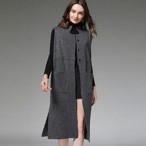 2-colores de las mujeres del otoño Loog bolsillos de la chaqueta de punto de cuello chaleco remiendo flojo del hilo gris negro tamaño promedio de acrílico mezclado 85KG