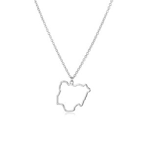 1 Outline Africa Nigeria map Country chain necklace hollow State geography Africa island city Hometown souvenir pendant Necklace Jewelry