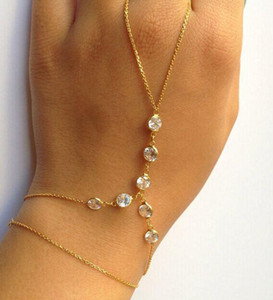 Wholesale-gold and Silver Plated Slave Chain alloy crystal Bracelet Finger Circle Jewelry SL-127