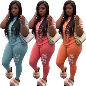 Verano Dos piezas Trajes para mujer Chándales de la marca Letra de marca de impresión Traje de jogging diseñador Sports Trajes de manga corta Top Pantal de largo Pantalón Casual Ropa