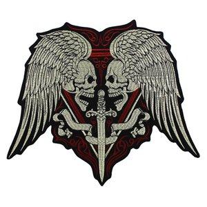 Große Stickerei Schädel Flügel Schwert Patches Eisen auf Motorrad Biker Abzeichen Weste Jacke Zurück Applique 1 stück