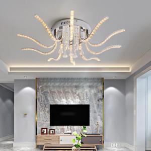 New Hot Chrome Crystal Moderna Led Plafoniere per soggiorno camera da letto Studio Room lustri lampadario illuminazione a LED Lampada da soffitto