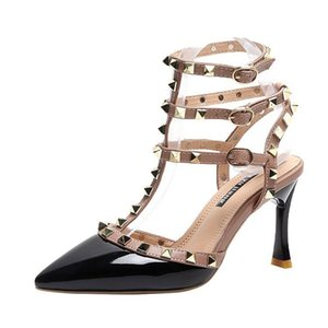 20200529 Pointed rivet high heel buckle sandals Liuding single shoes