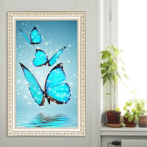 Nouveau diamant peinture bleu rose fleur de papillon bricolage 5D forage partiel point de croix kits cristal strass Arts sans cadre