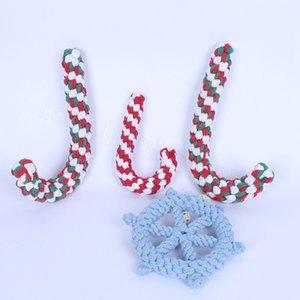 Perro trenzado de caña de timón Chew Toy alimentos para mascotas cuerda de algodón de formación interactiva Juego Bite Juguetes de Navidad de la muleta suministros para mascotas cuerda FFA3525-5