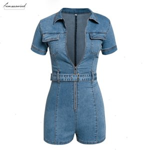 Blue Denim Rompers Women Jumpsuit Short Sexy Bodycon Summer Streetwear Jeans Playsuit Female Fashion Party Club Overall