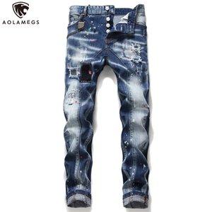 Aolamegs Jeans Men Spray Hip Hop Delik Baskı Denim Pantolon Casual Slim Fit Pantolon High Street Moda Streetwear Patch Ripped