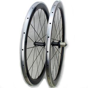 углеродный сплав 50ммы велосипеда клинчер колесо велосипеда 700c дороги волокна углерода гоночного велосипед колесный с поверхностью сплава тормозов PowerWay углерод ступицей