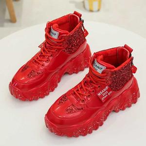 Bling pailletée de femmes RUIFF tissu rouge Femmes Chaussures de Chaussures montantes vague femmes fond épais marchant en plein air