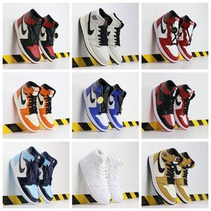2020 New Shoes air Jordan 1 Basketball Shoes Mens Chicago red 1s Sneakers Black Sports Training eur 40-46