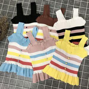 Autunno Donna Canotte Striped Ruffles Button Pleated Student Sweet Girls Fresh Maglieria senza maniche Kawaii Vestiti Donna Tanks Y19042801