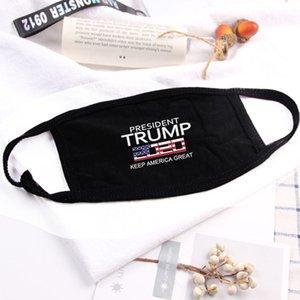 18styles Trump maschera di cotone Trump 2020 Maschere panno anti-polvere maschera Donne Uomini Unisex Moda inverno caldo maschere nere bandiera degli Stati Uniti GGA3546-11
