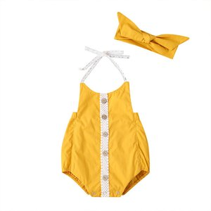 Baby Backless Bandage Braces Triangle Rompers Summer 2020 Kids Boutique Clothing 0-18m Newborn Infant Toddlers Girls Sleeveless Onesie
