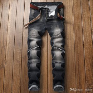 Erkek Pileli Düz Bacak Jeans Slim Fit Tasarımcı Biker Düz Kot Kalem Pantolon panelli Fold StreetWear lgw822