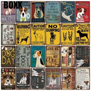 Muestra del metal de Jack Russell Terrier mascota perros Reglas mejor vida con la decoración del hogar arte de la barra pintura de pared 20 x 30 cm Tamaño