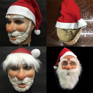 Moda Kırmızı Eğlence Cosplay Noel Baba Şapka Festivali Kauçuk Tam Yüz Maskesi Merry Christmas Hediye Malzemeleri Kolay Kullanım 48lx Maske