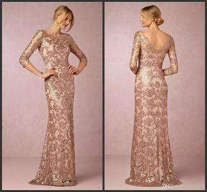 2019 New Sexy Designer Elegante Rose Gold Lantejoulas Appliqued Mãe da Noiva Vestidos Barato À Noite Vestido de Festa Formal Guest Gowns Vestido