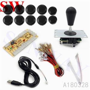 Encoder Board juegos Accesorios joysticks Negro Arcade MAME DIY Kit USB con PC Joystick Pin 5 ovalados bola + 10 Botones pulsadores