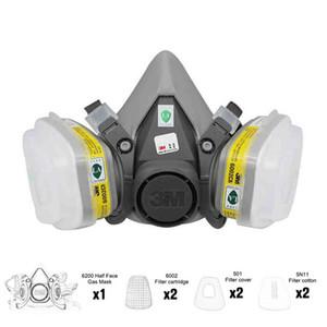 7in1 6200 Half Gas Face Mask + 6002/6003 Filtre réutilisable Masque Respiratoire organique Sécurité acide Gaz VaporAcid organique Masque de protection Masques