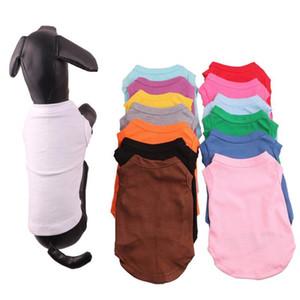 애완 동물 의류 멀티 색상 4 크기 애완 동물 여름 솔리드 T 셔츠 개 의류 클래식 강아지 작은 개 의류 코튼 셔츠 의류 DH0284 T03