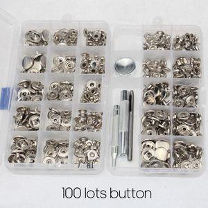 15MM 가죽 스터드 버튼 의류 가구를위한 박스형 실버 화이트 버튼의 100 개 세트 4 대 1 버튼 + 수리 도구 세트