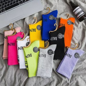 2020 European and American solid color fashion letters hot sale female middle tube pure cotton beam socks ladies long sock