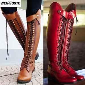 WEINUOTE женская мода верховая езда сапоги зашнуровать плоский крест ремень длинные сапоги старинные кожаные колено высокие Botte Femme