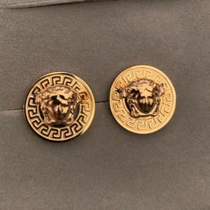Новое поступление 3 цвета высокое качество нержавеющей стали 3D круглая золотая голова карты серьги стержня 18k золото серьги стержня мужчины женщины