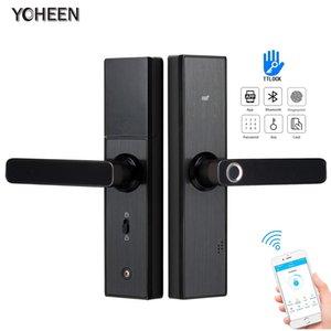 YOHEEN TTlock APP Bluetooth WIFI-Tür-Verschluss-biometrischer Fingerabdruck Smart Lock, Elektronische Tastatur Code Keyless Digital-Türschloss T200325
