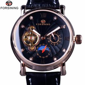 Forsining mode Luxe lumineux Mains Rose d'Or Montres Hommes Top Marque Tourbillion diamant Affichage automatique Montre mécanique